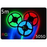 Taśma LED 5m  30led/m SMD 5050 RGB, wewnętrzna, SUPER JASNA