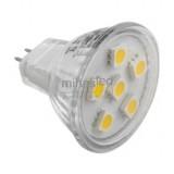 Żarówka LED MR11 G4 6 LED SMD 5050 12 V biała ciepła