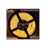 Taśma LED 5m  30led/m SMD 5050 biały ciepły, wodoodporna, SUPER JASNA