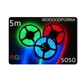 Taśma LED 5m  30led/m SMD 5050 RGB, wodoodporna, SUPER JASNA