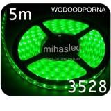 Taśma LED 5m 60led/m SMD 3528 zielony, wodoodporna
